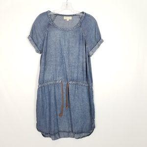 Cloth & Stone Chambray Drawstring Mini Dress Small